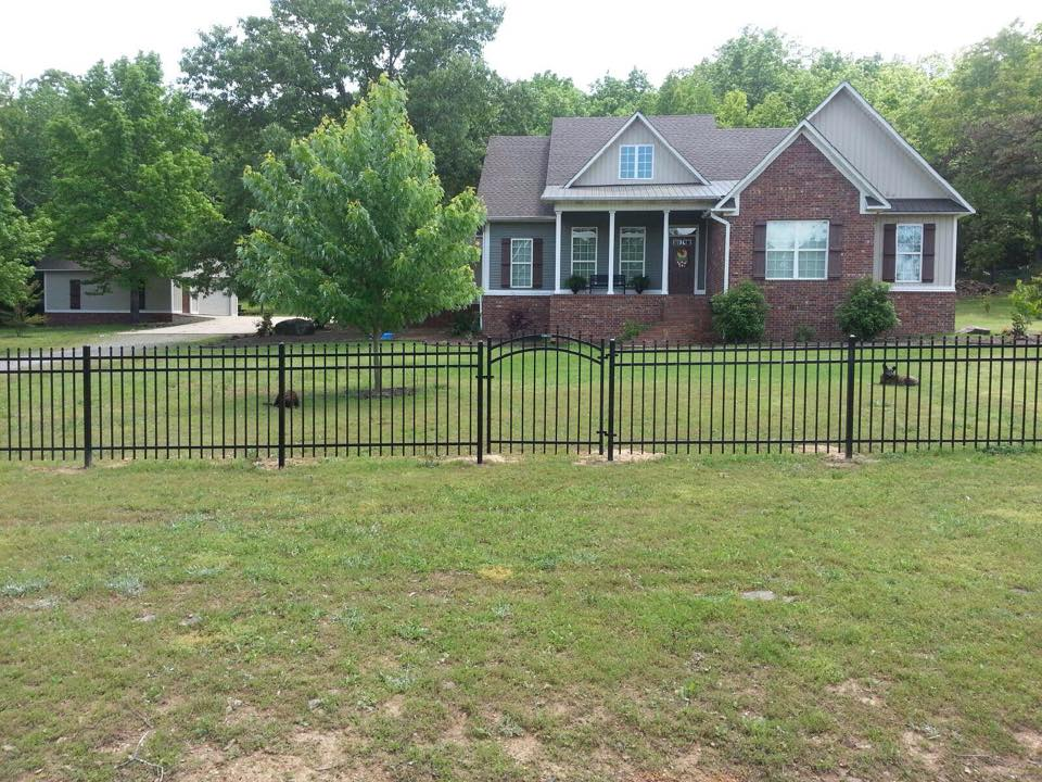 4' Tall Pressed Spear Iron Fence and Custom Made Arched Iron Gate by Bills Fence