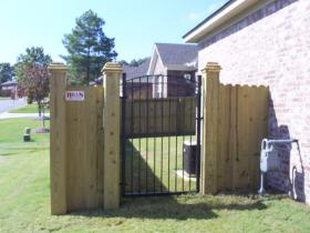 6' Dogear w/ Boxed Posts & Iron Gate